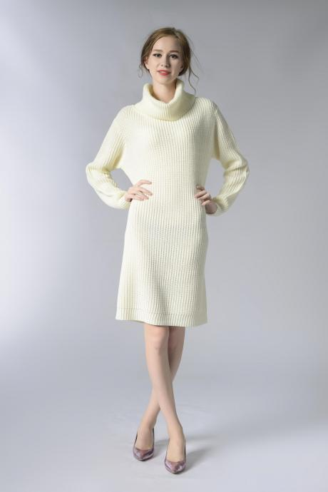 White Knitted Turtleneck Long Sleeves Knee Length Sweater Dress