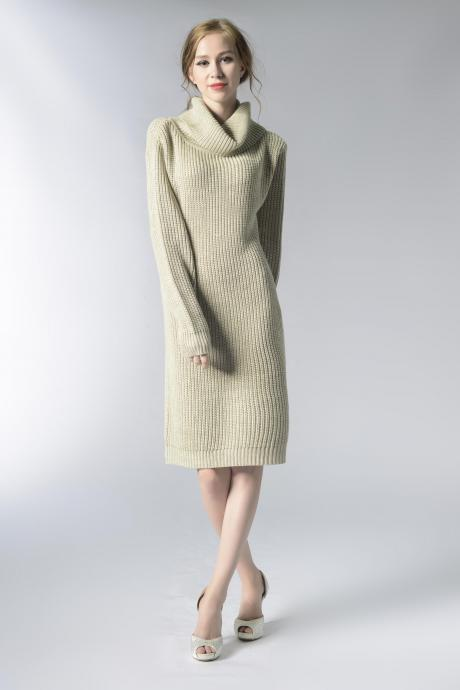 Knitted Turtleneck Long Sleeves Knee Length Sweater Dress