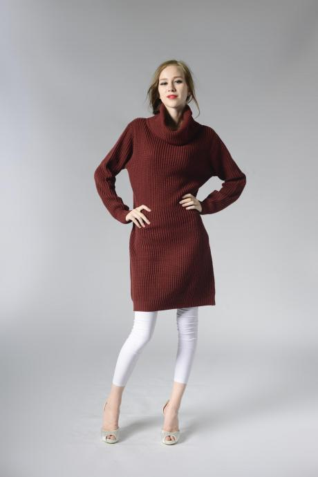 Burgundy Knitted Turtleneck Long Cuffed Sleeves Knee Length Sweater Dress