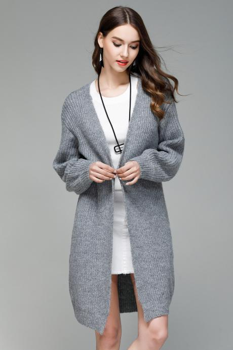 Autumn and Winter Warm Knitted Sweater Cardigan Coat - Grey