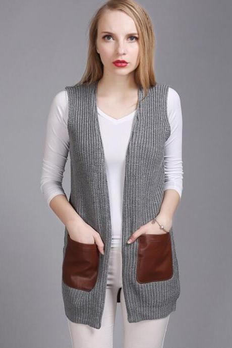 Fashion Leather Pocket Sleeveless Knit Vest Cardigan - Grey
