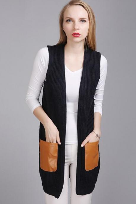 Fashion Leather Pocket Sleeveless Knit Vest Cardigan - Black