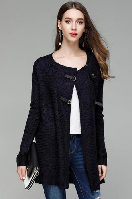 Fashion Solid Knit Cardigan Sweater Coat - Navy Blue