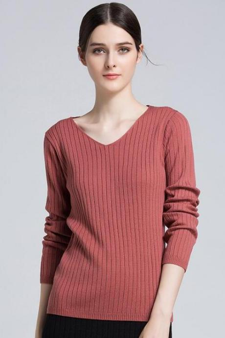 New V Neck Pullover Sweater - Watermelon Red