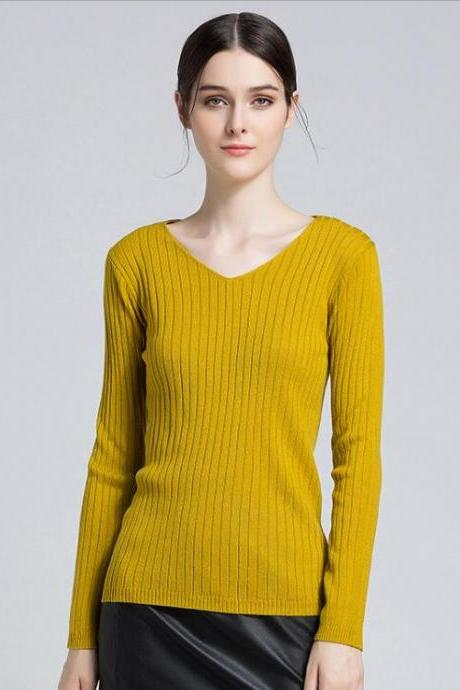 Yellow Ribbed Knit Plunge V Long Sleeves Sweater