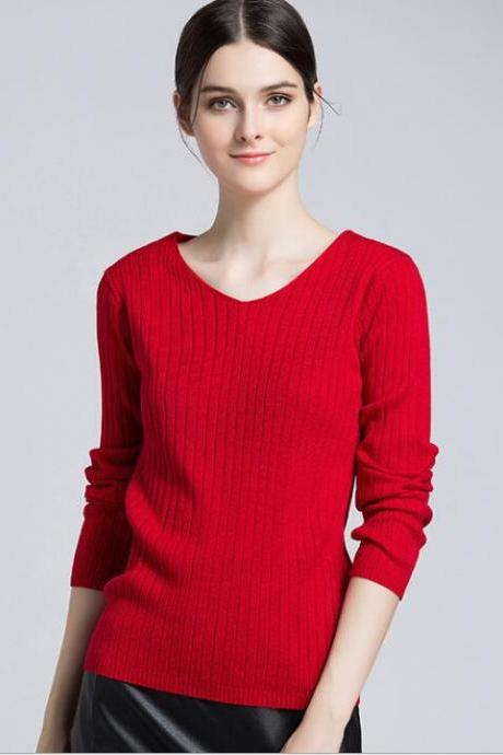 Red Ribbed Knit Plunge V Long Sleeves Sweater