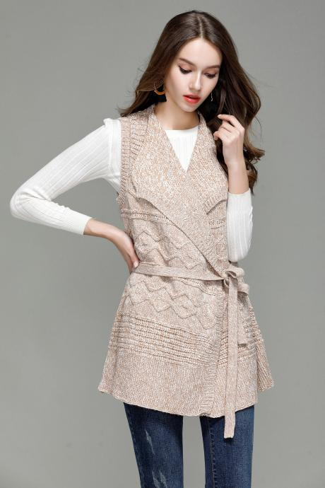 Fashion Long Knit Vest Cardigan - Beige