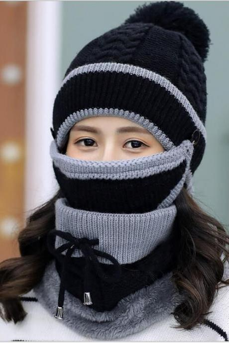 Fashion Winter Hedging Cap Scarf Suit Knit Hats - Black