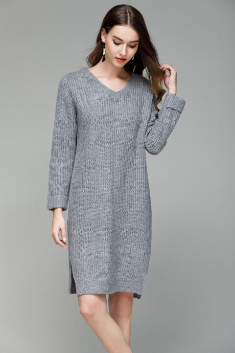 New Long V Collar Loose Big Size Knitted Sweater Dress - Grey