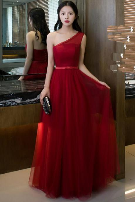 Elegant One Shoulder Red Color Women Long Bridesmaid Dress