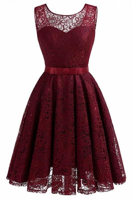 Women Sleeveless Lace Party Dress A-Line Dress - Wine Red