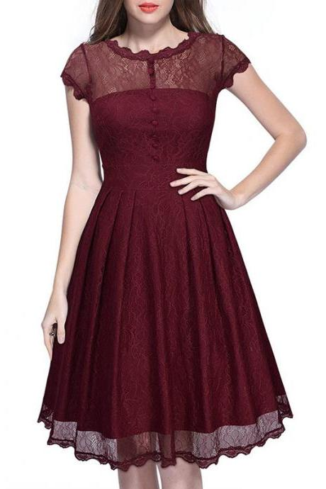 8bd699f035 Women s Retro Short Sleeve Lace Slim Party Dress - Wine Red