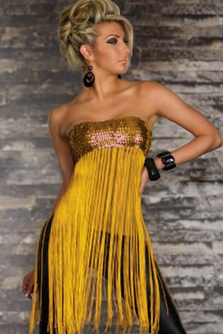 Sexy Strapless Sequin Decoration Black Bra with Tassel - Yellow