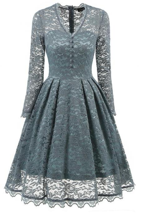 Women's Retro Multicolor V Neck Tunic Slim Floral Lace Swing Dress - Grey Blue