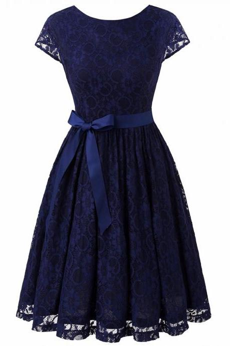 Dark Blue Scooped Neck Lace A-Line Short Dress with V- Back , Homecoming Dress, Cocktail Dresses, Graduation Dresses