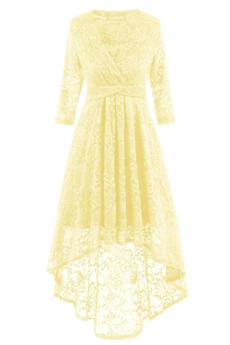 Women Half Sleeve Deep V Neck High Low Irregular Lace Party Dresses - Yellow