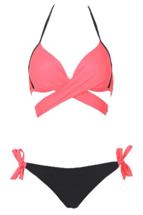 Cross Patchwork Women Swimwear Swimsuit Halter Top Bathing Suits - Watermelon Red