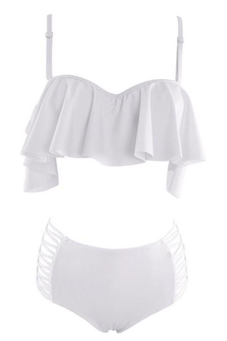 Two Piece White Bikini with Spaghetti Strap Frilled Top and Side Cutout Bottom