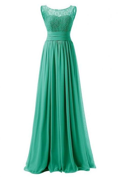 Elegant Long Evening Dresses Women Bridesmaid Wedding Party Dress - Green