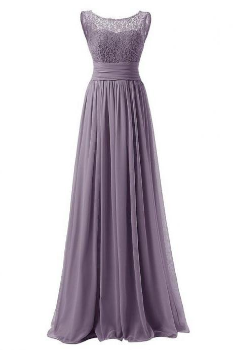 Elegant Long Evening Dresses Women Bridesmaid Wedding Party Dress - Grey