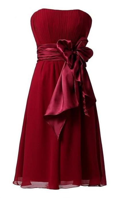 Sweet Bow Chiffon Bridesmaid Party Dress - Wine