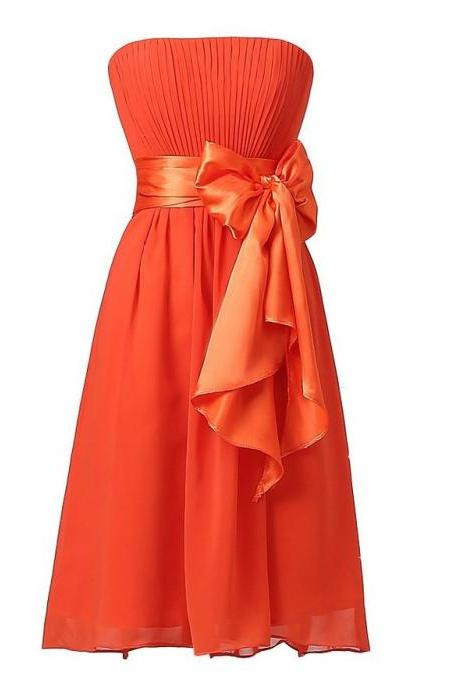Sweet Bow Chiffon Bridesmaid Party Dress - Orange