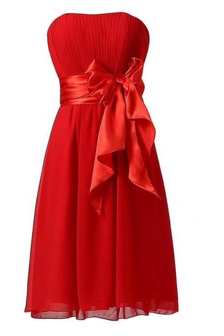 Sweet Bow Chiffon Bridesmaid Party Dress - Red