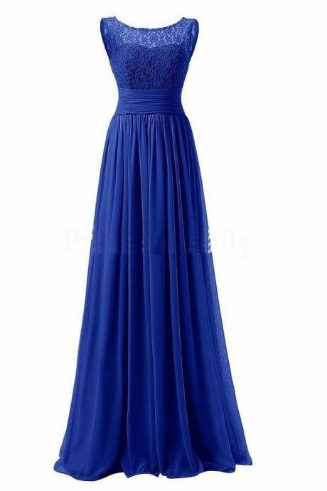 Long Prom Dress Scoop Bridesmaid Dress Lace Chiffon Evening Gown - Blue
