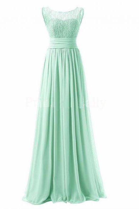 Long Prom Dress Scoop Bridesmaid Dress Lace Chiffon Evening Gown - Light Green