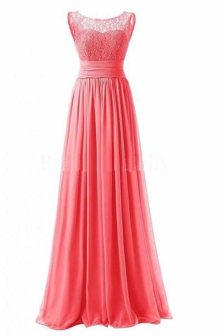 Long Prom Dress Scoop Bridesmaid Dress Lace Chiffon Evening Gown - Watermelon Red