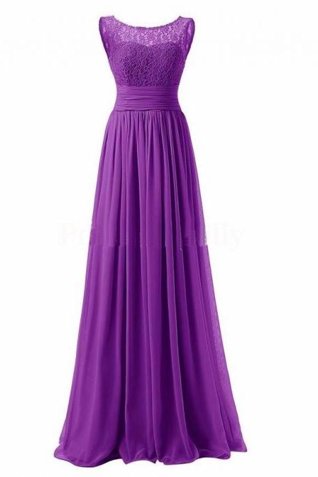 Long Prom Dress Scoop Bridesmaid Dress Lace Chiffon Evening Gown - Purple