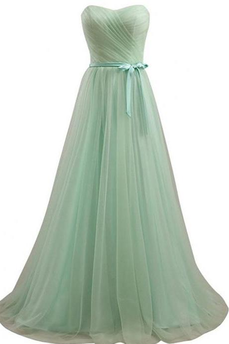 New Off Shoulder Sweetheart Tulle Bridesmaid Dress Wedding Party Gown - Light Green