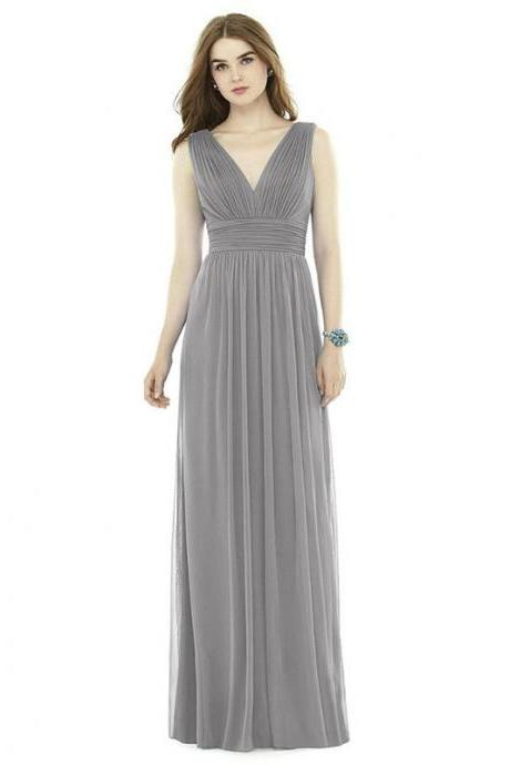 New A-line V Neck Women Pleated Formal Bridesmaid Wedding Party Gowns - Grey