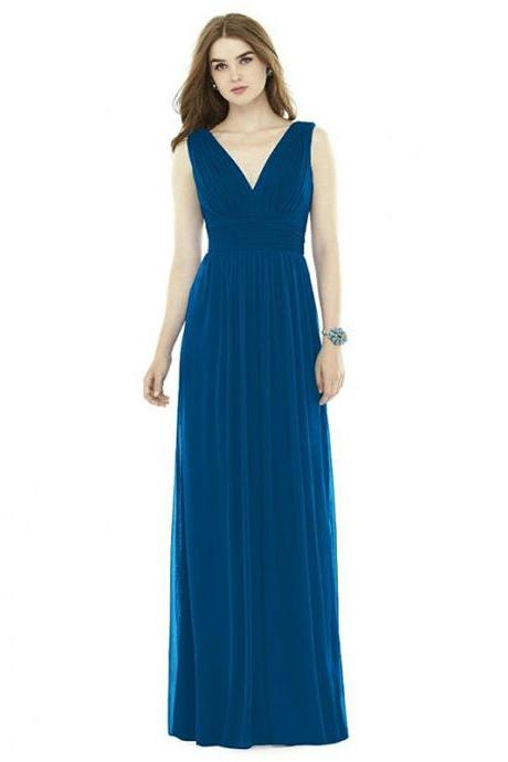 New A-line V Neck Women Pleated Formal Bridesmaid Wedding Party Gowns - Blue