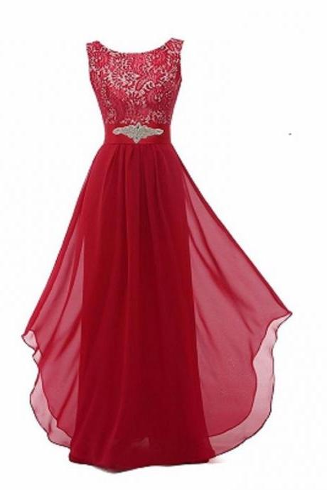 New Arrival Lace Patchwork Long Ruffles Evening Backless Prom Dress - Red