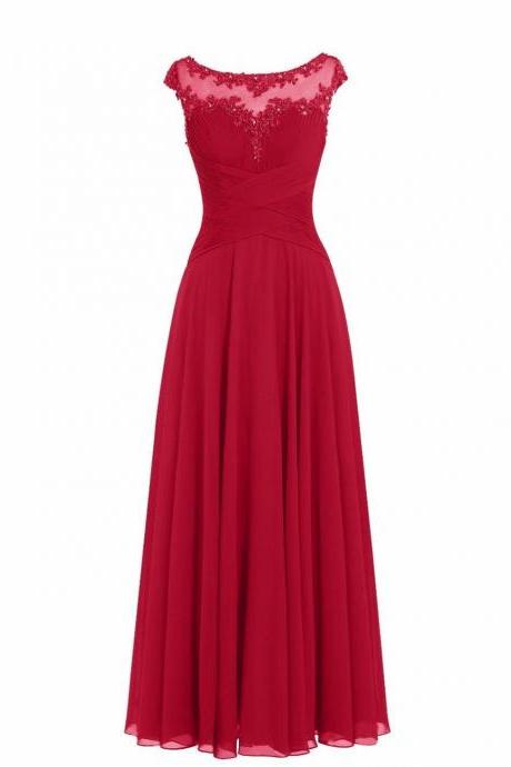 Women Sleveless Embroidered Chiffon Bridesmaid Dress Long Party Pageant Wedding Formal Dress - Wine Red