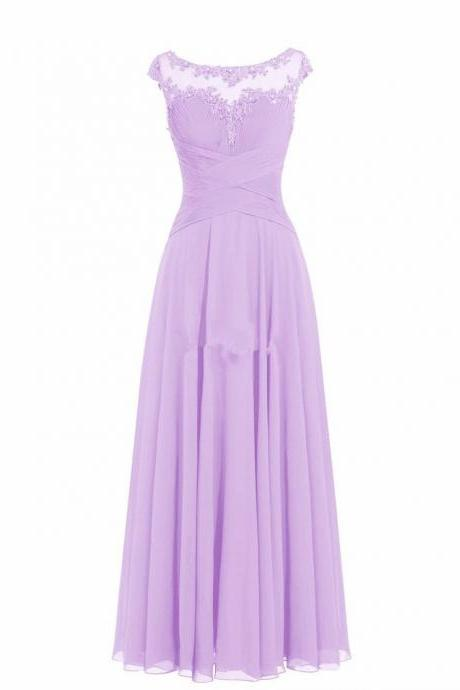Women Sleveless Embroidered Chiffon Bridesmaid Dress Long Party Pageant Wedding Formal Dress - Light Purple