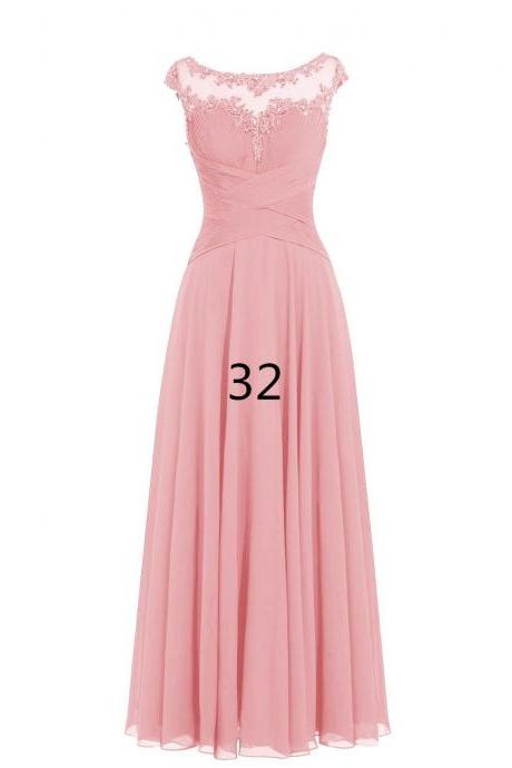 Women Sleveless Embroidered Chiffon Bridesmaid Dress Long Party Pageant Wedding Formal Dress - Pink