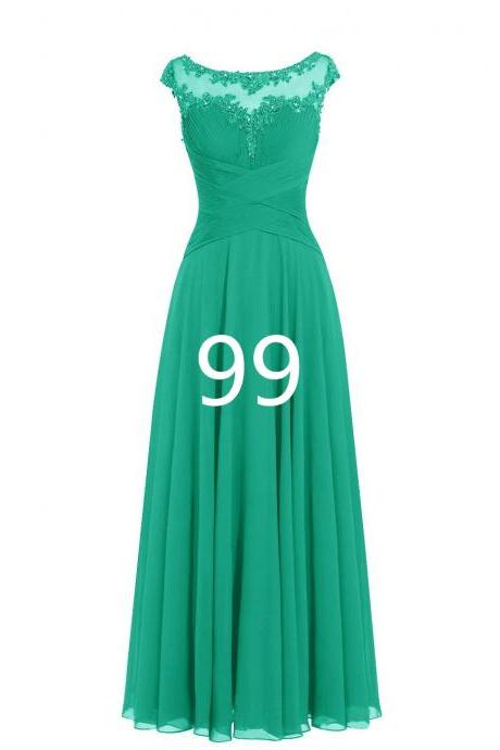Women Sleveless Embroidered Chiffon Bridesmaid Dress Long Party Pageant Wedding Formal Dress - Dark Green