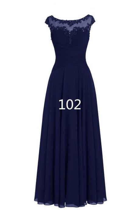 Women Sleveless Embroidered Chiffon Bridesmaid Dress Long Party Pageant Wedding Formal Dress - Navy Blue