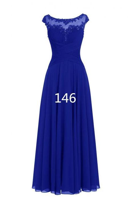 Women Sleveless Embroidered Chiffon Bridesmaid Dress Long Party Pageant Wedding Formal Dress - Blue