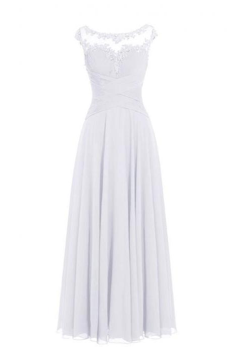 Women Sleveless Embroidered Chiffon Bridesmaid Dress Long Party Pageant Wedding Formal Dress - White