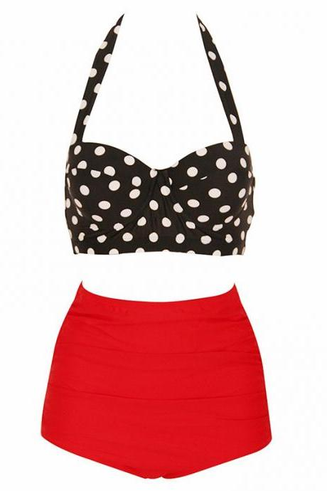 Womens Retro Vintage Polka Underwire High Waisted Swimsuit Bathing Suits Bikini - Black & Red