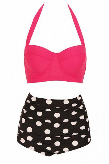 Womens Retro Vintage Polka Underwire High Waisted Swimsuit Bathing Suits Bikini - Rose & Black
