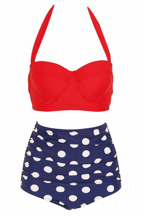 Womens Retro Vintage Polka Underwire High Waisted Swimsuit Bathing Suits Bikini - Red & Blue