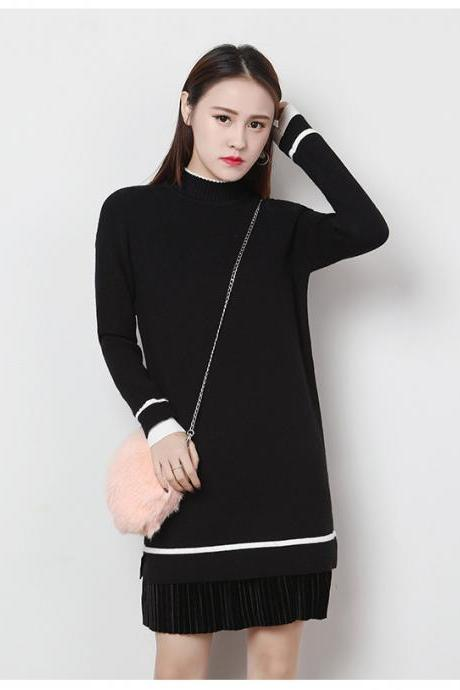 Women's Long Sleeve Knitted Casual Turtleneck Sweater - Black