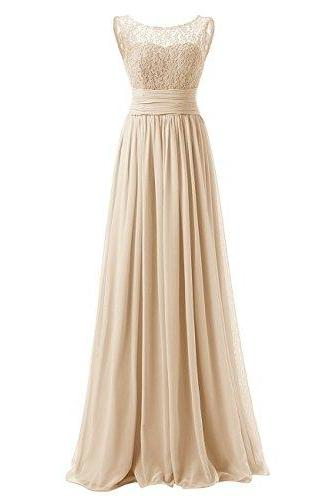 New Long Prom Dress Scoop Bridesmaid Dress Lace Chiffon Evening Gown - Khaki