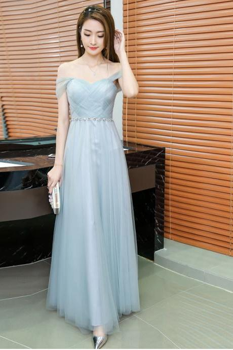 Grey Long Bridesmaid Dress Sweetheart Tulle Pleated Prom Dresse