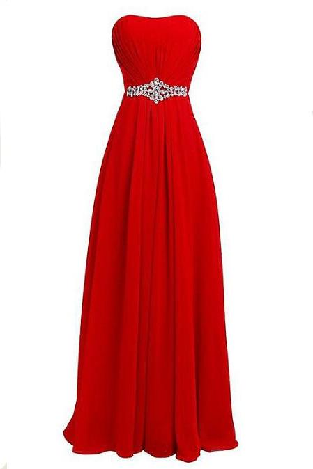 New Fashion Long Chiffon Prom Dress with Beadings Bridesmaid Dresses Party Dress - Red