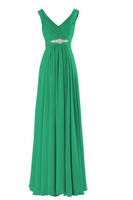 A-Line Evening Dresses Long Elegant Pleat Chiffon V-neck Beading Party Prom Dress - Green
